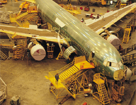 Plane being manufactured