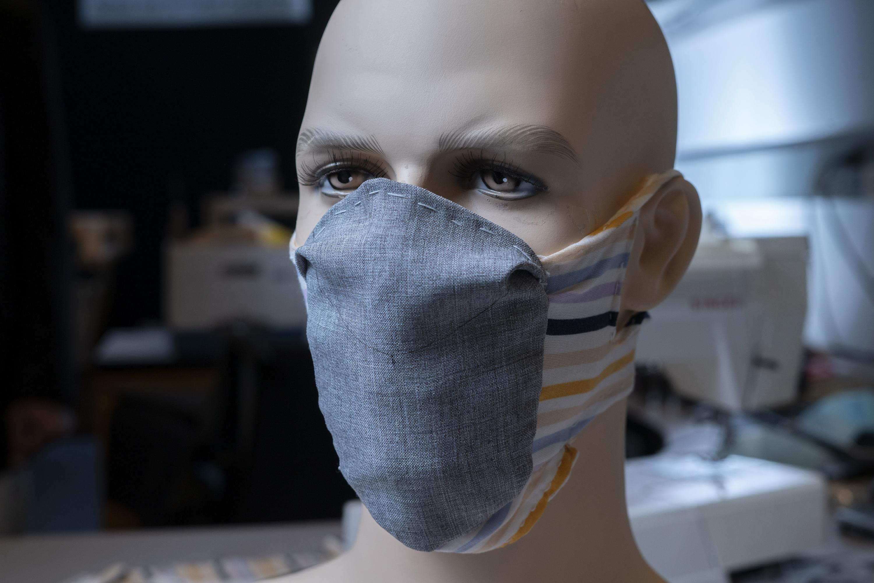 Details of a redesigned face mask developed at the Georgia Institute of Technology are modeled on this mannequin.  (Credit, Christopher Moore, Georgia Tech)