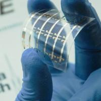 A blue gloved hand holds a flexible plastic sheet printed with organic photonic devices.
